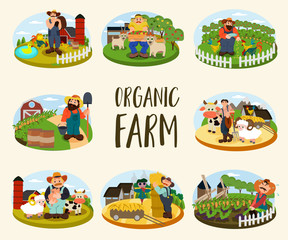 Set of Farmers on the background of his farm with cow, sheep and cock. Village theme. Organic Farm. Flat style vector illustration