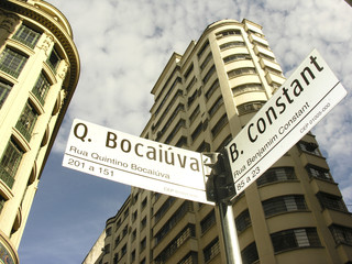 Sao Paulo, Brazil, March 01, 2007. Building and road sign, in downtown of Sao Paulo, Brazil