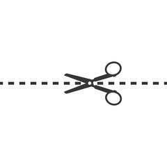 black dotted line and scissors on white background
