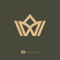 Vector imperial luxury crown logo design. Line art gold ornate symbol. Vintage premium king, queen vector sign.