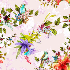 Seamless pattern. Nightingale, poppy, roses with lily of the valley and leaves on floral background. Watercolor, hand drawn. Vector - stock.