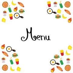 Hand illustration of food+menu coloured on white background. Banner, poster, menu board, menu card.