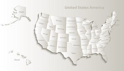 USA map with Alaska and Hawaii map separate states individual names card paper 3D natural vector