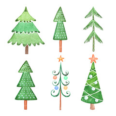 set of watercolor drawings of green Christmas trees for the design of winter holidays