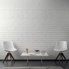 Interior of living room with white brick wall, 3D Rendering