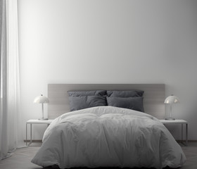 Interior of bedroom with white wall, 3D Rendering
