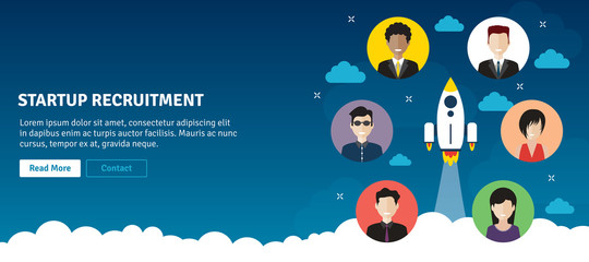 Rocket flying and people recruitment in startup business. Hiring and recruitment concept, job interview, recruitment startup. Flat design web banner in vector illustration.