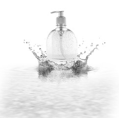 Liquid soap is isolated on white background