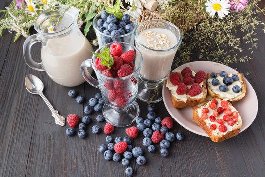Non-dairy vegan oat milk with berries, healthy diet