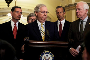 U.S. Senate Majority Leader Mitch McConnell (R-KY) speaks to reporters at the Capitol in Washington