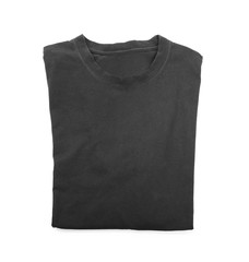 Blank black t-shirt on white background
