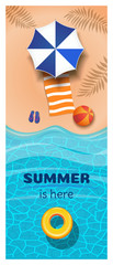 Vertical summer banner. A yellow inflatable swimming circle floats in the sea. Summer is here. Vector illustration