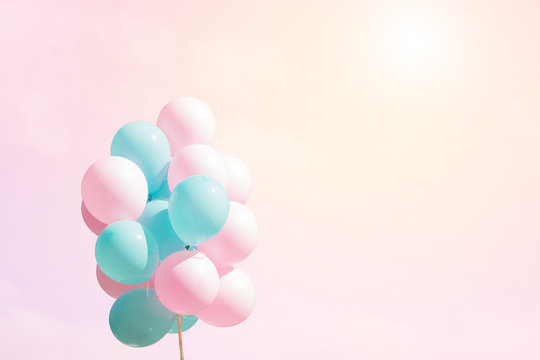 Bunch of flying balloons on soft background