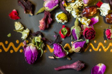 flower tea-buds and fruits of wild rose, chamomile and other ingredients