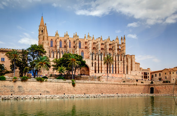 Gothic medieval cathedral of Palma de Mallorca, Spain