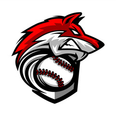 Baseball Wolf Team Logo