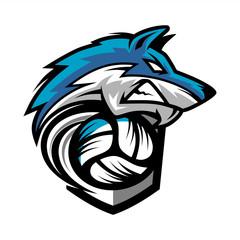 Volleyball Wolf Team Logo