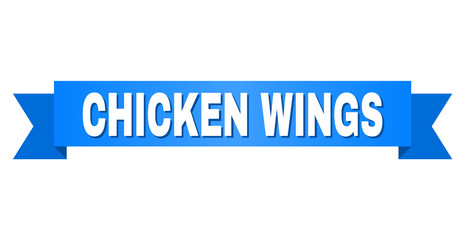 CHICKEN WINGS text on a ribbon. Designed with white caption and blue stripe. Vector banner with CHICKEN WINGS tag.