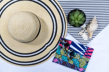 Flatlay with African print