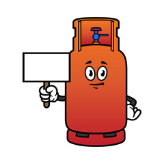 Cartoon Gas Cylinder Character Holding Blank Sign