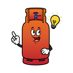 Cartoon Gas Cylinder Character With Idea