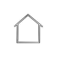 House hand drawn outline doodle icon. Real estate, mortgage, property, building, housing, moving concept. Vector sketch illustration for print, web, mobile and infographics on white background.
