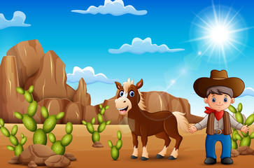 Cartoon happy cowboy with horse in the desert