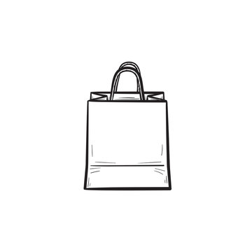Shopping bag hand drawn outline doodle icon. Mall sales, buy in store, gift pack, market and consumerism concept. Vector sketch illustration for print, web, mobile and infographics, white background