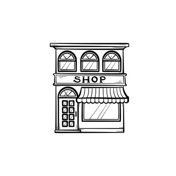 Front of shopping store hand drawn outline doodle icon. Local shop, retail, store front, market concept. Vector sketch illustration for print, web, mobile and infographics on white background.