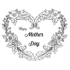 Lettering Happy Mothers Day beautiful greeting card