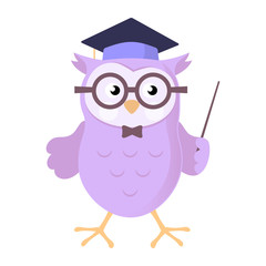 Owl wearing academic cap Cartoon Vector Illustration