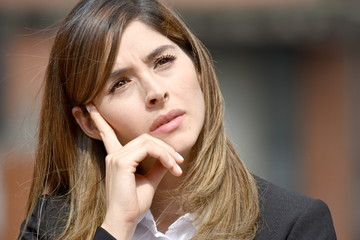 Thoughtful Adult Colombian Business Woman