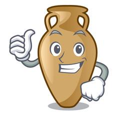 Thumbs up amphora character cartoon style