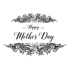 Mothers day greeting card with handwritten text on floral background