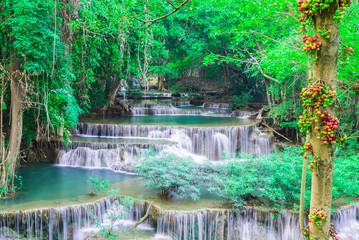 Wall Mural - Deep waterfall in Huay Mae Kamin Kanjanaburi Thailand