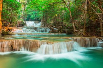 Wall Mural - beautiful waterfall in forest, Kanchanaburi province, Thailand