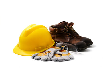 Construction site safety. Personal protective equipment on white background Wall mural