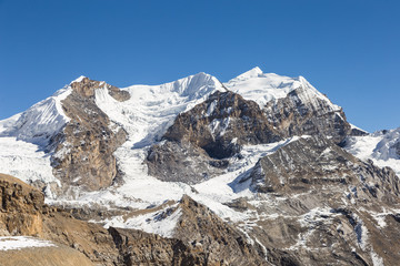 Stunning mountain view near the top of the Thorung La pass in the Himalayas along the Annapurna circuit trekking in Nepal