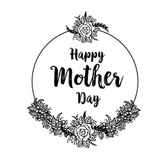 Happy Mother`s day template card with floral hand draw elements