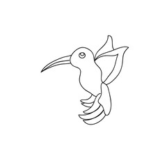 Little cute hummingbird kids coloring page line art isolated on white
