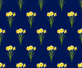 Yellow Daffodil - Narcissus Seamless on Navy Blue Background