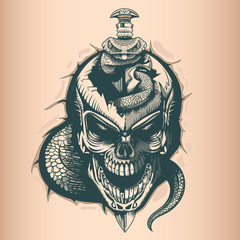 Vintage skull with sword and snake, monochrome hand drawn tatoo style