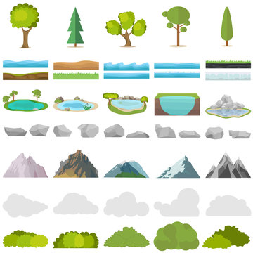 Trees, stones, lakes, mountains, shrubs. A set of realistic elements of nature.
