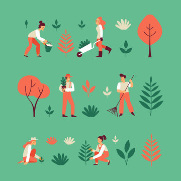 Vector set of illustrations in trendy flat linear style for infographic - gardening concept