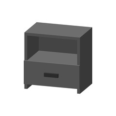 Modern empty nightstand. Isolated on white background. 3d Vector illustration.