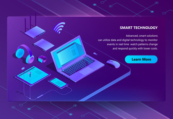 Vector 3d isometric template for site construction with violet laptop, router with wi-fi. Ultraviolet computer, smartphone and headphones with tablet. Portal with smart devices, wireless technology.
