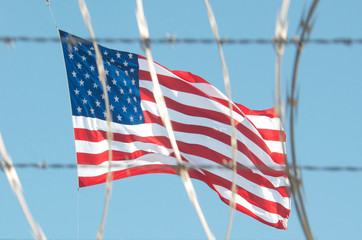 Razor Wire and American Flag