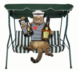 The cat sailor with a bottle of rum and a smartphone sits on a swing bench. White background.