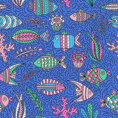 Seamless pattern with cute fishes and seaweeds