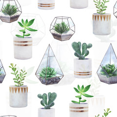 Hand drawn decorative seamless pattern with cactuses and succulents. Objects on white background